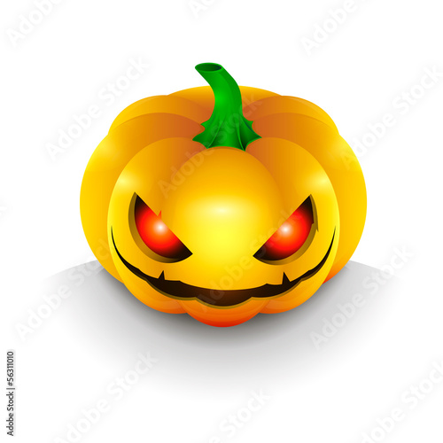 The dark pumpkin on Halloween, illuminated red demon eyes