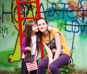 Portrait of beautiful young girls together