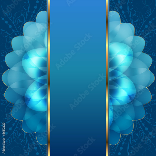 Blue background with flowers and snowflakes