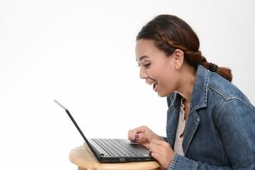 Surprised Girl Looking In Laptop