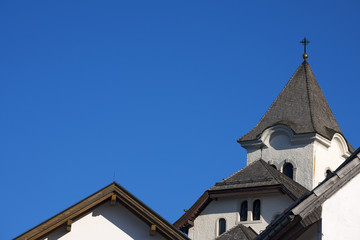 Roofs of Church on Blue Sky