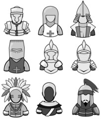 Silhouette ancient warrior icon collection set2