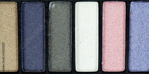 A very close view of eye shadow makeup