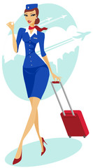 Flight attendant with suitcase