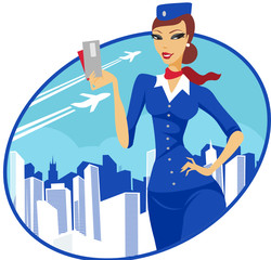 Flight attendant holding tickets