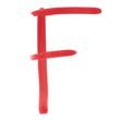 F - Red handwritten letter over white background