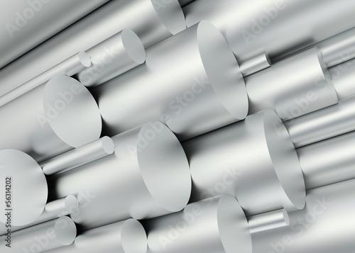 canvas print picture Aluminium Rohre aufsteigend voll