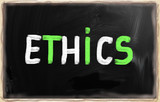 """Ethics"" handwritten with chalk on a blackboard"