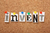 The word Invent on a cork notice board poster