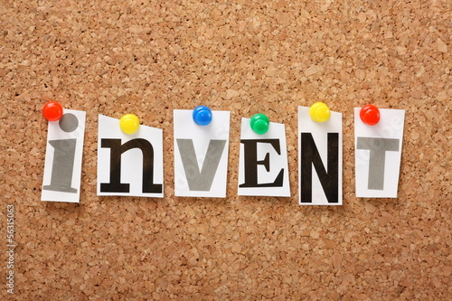 The word Invent on a cork notice board