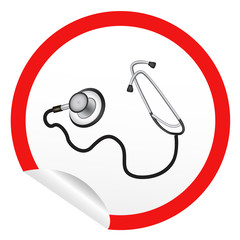 sticker icon web button with doctor's stethoscope