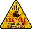 Keep out sign, warning / prohibition sign, vector, grungy