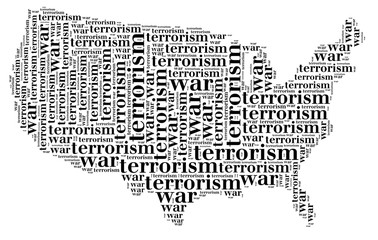 Tag or word cloud war or terrorism related in shape of USA
