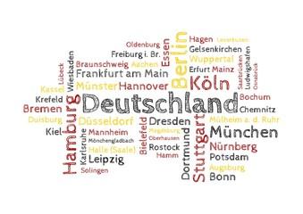 Wordcloud - 50 deutsche Großstädte farbig