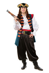 Young man in pirate costume
