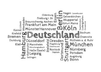 Wordcloud - 50 deutsche Großstädte sw