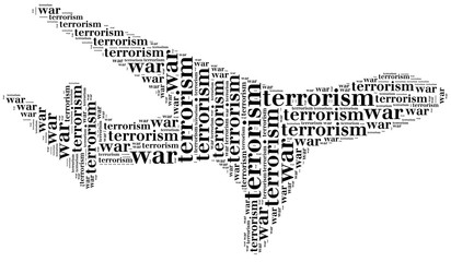 Tag or word cloud war or terrorism related in shape of plane