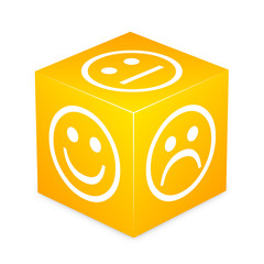 Yellow Cube With Smileys