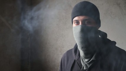 Terrorist Looking Dangerous Masked Man Smoke Terror Concept