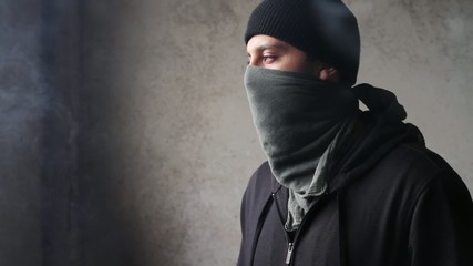 Criminal Masked Man Smoke Danger Gangster Concept HD