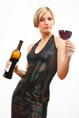 Young woman with red wine on white
