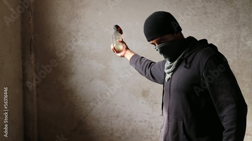 Man Dark Grunge Danger Enemy Molotov Cocktail Throw HD