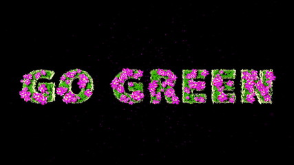 GO GREEN Text 3D Motion Graphics with Alpha