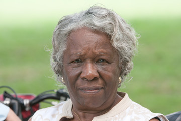 Elderly african american lady outside
