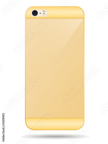Vector smart phone back cover of gold