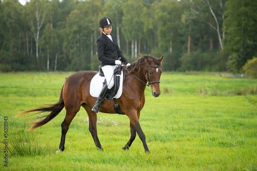 Young girl riding her brown horse outdoors