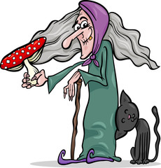 witch with mushroom cartoon illustration