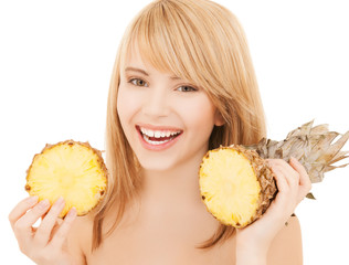 happy girl with pineapple
