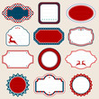 Set Of Christmas Frames Pattern Red/Blue