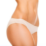 woman in cotton underwear showing slimming concept