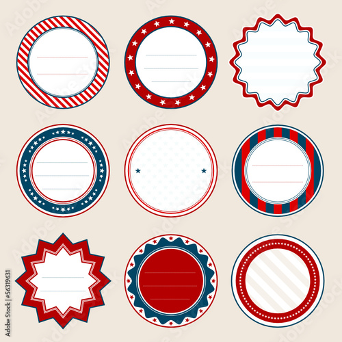 Set Of Round Christmas Frames Red/Blue