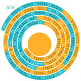 2014 calendar in the form of a spiral