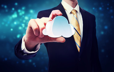 Businessman holding a cloud icon