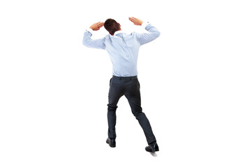 Back view of a businessman lifting his arms. Image with extra co