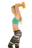 sports bra stripe pants yellow weights side over head