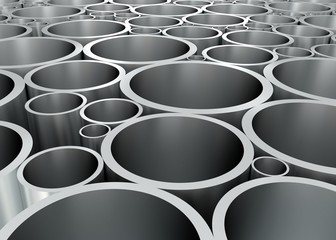 Aluminium Rohre geordnet