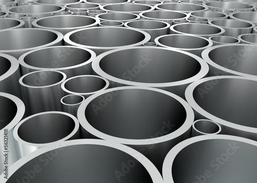 canvas print picture Aluminium Rohre geordnet