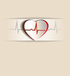 Vintage heart beat concept, cardiogram .