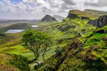 Vacker utsikt över Quiraing bergen i Isle of Skye, Skotska hög