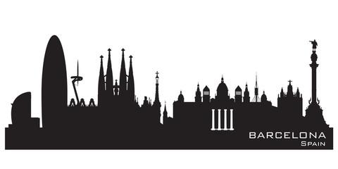 Barcelona Spain city skyline vector silhouette