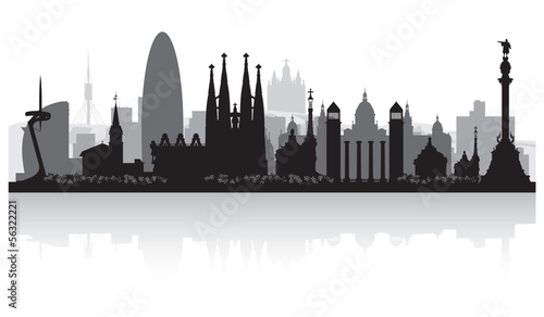 Barcelona Spain city skyline silhouette