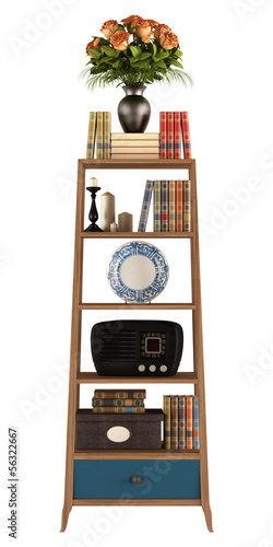 Retro bookcase on white