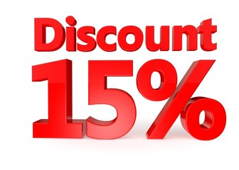 15 percent discount - 3d red letters