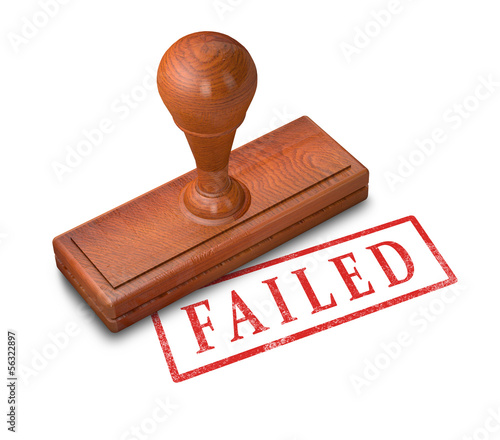 Wooden stamp with failed word