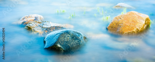 Rocks on the coastline, long shutter shoot