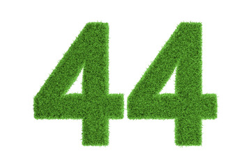 Number 44 with a green grass texture